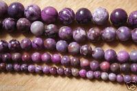 "Purple Charoite Loose Gemstone Round Beads 6mm 8mm 10mm 12mm 14mm 15"" Strand"