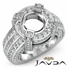 Round Semi Mount Diamond Pave Set Engagement Designer Huge Ring Platinum 2.9Ct
