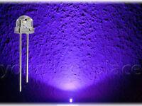 100 x LED 5mm straw hat UV Ultraviolett 90-120° Kurzkopf Flachkopf purple