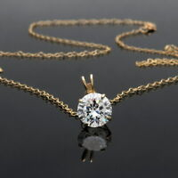 14k Yellow Gold Created Diamond Necklace 2ct Created Diamond Solitaire Pendant