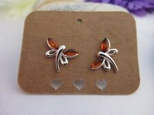 Sterling Silver Amber Dragonfly Studs