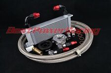 New 13 row 10AN Oil Cooler Sandwich Plate & thermostat For Subaru BRZ ZN6 ZC6