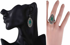 INDIAN JAIPURI JEWELRY TURKISH STYLE SILVER PLATED EMERALD EARRINGS RING US Sz 8