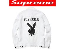 2014 NEW Supreme x Playboy Denim Jacket in White SUPER RARE !!  Size : Medium