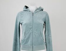 NWT $99.99 Juicy Couture Blue Zip Front Velour Hoodie Jacket Size Medium