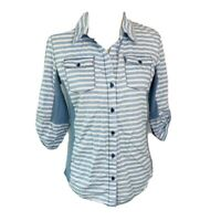 Cavalini Womens Button Front Shirt Blue Stripe Roll Tab Sleeve Stretch Pockets M