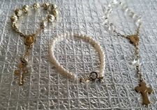 CROSS & SAINT BABY OR DOLL RELIGIOUS BRACELETS. SET OF THREE EMBOSSED GOLD TONE
