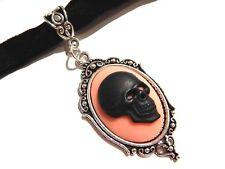 ANATOMIC VELVET CHOKER skull heart cameo silver Victorian steampunk necklace Q3