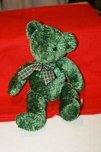 """Russ Berrie  """"Shawn""""  GREEN TEDDY BEAR COMPLETELY MOVES 11"""" SUPER CUTE"""