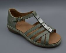 """NEW K by Clarks """"Rubie Elana"""" Pale Green Leather Casual T-Bar Sandals UK 4 E"""