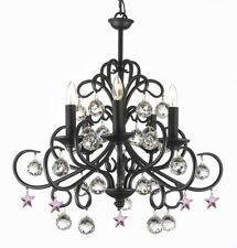 Bellora Crystal Wrought Iron Chandelier Chandeliers Lighting Pink Stars H22 W20