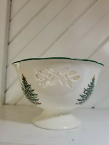 Spode Christmas Tree Scalloped Candy Dish Bowl Footed Pedestal Holly