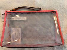 Coach Clear/Pink Lemonade Signature Beach Clutch 99430 NWT