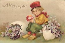 Clapsaddle~Easter~Dutch Boy~Red Hat & Scarf~Tulips~Violets in Broken Eggs~1908