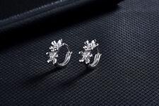 Shiny 925 Sterling Silver PL Flower Cubic Zirconia CZ Huggie Loop Hoop Earrings