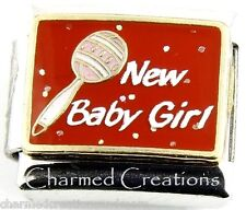 9mm Italian Charm Modular Link Newborn Baby Girl Daughter Rattle Red Glitter