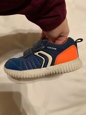 Geox Boys Toddler Sneaker Blue Orange Euro Size 25 US Size 8.5 EUC