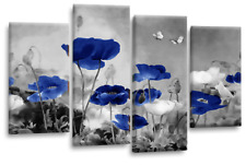 Floral Flower Wall Art Grey White Blue Chinese Poppy Canvas Split Picture