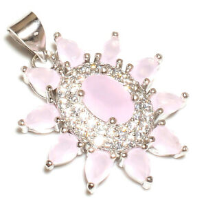 "Madagascar Rose Quartz & White Topaz 925 Silver Pendant Jewelry 1.05"" W2440"