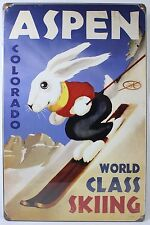 ASPEN WORLD CLASS SKIING STEEL SIGN Colorado Snow Ski NEW Vintage Repro USA