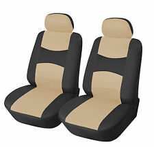 Leather like Two Front Car Seat Covers For Toyota 159 Bk/Tan