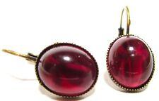 SoHo® Ohrhänger vintage bohemia oval ruby mit Kreuz böhmischer Glasstein 1960´s