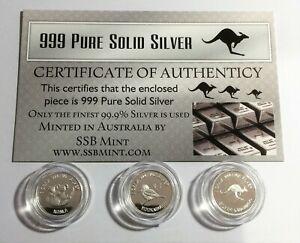 Set of 3, 999 Pure Silver 1 Gram (approx) coins, Roo, Koala, Kookaburra, Cert