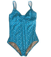 Lands' End Women's Turquoise Print One Piece Swimsuit Underwire Slim Size 14