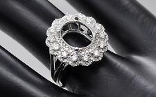 9x11mm Oval Cut 14K 585 White Gold Semi Mount Natural Diamond Ring