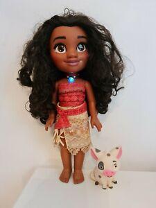 "Disney Moana Adventure Singing Talking Doll 13"" Light Up Necklace & Pua Jakks"