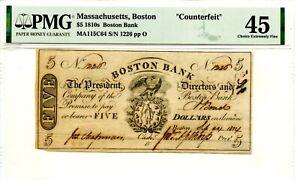 1814. $5    Boston, Mass. The Boston Bank  1803-1865.  PMFG 45