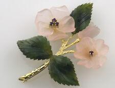 Brosche 585 14K Gelbgold Jade, Rosenquarz, Rubin