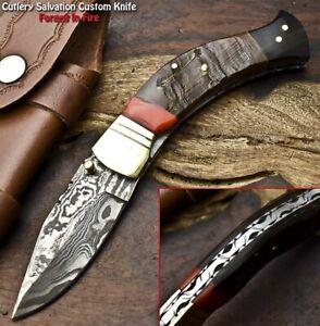 Handmade Damascus Pocket Liner Lock Folding Knife | Ram's Horn