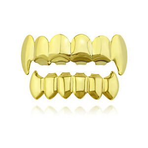 Fit Hip Hop Grills Fangs Top and Bottom Set Gold Silver Color Bling Teeth Grillz