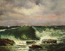 Waves Gustave Courbet Meer Küste Felsen Wellen Wasser Ozean Schaum B A3 02169