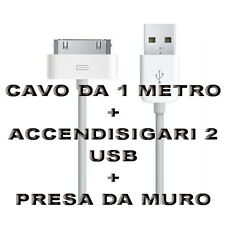 Kit Carica Batteria Auto Cavo 30 Pin 1M Usb Per Iphone 3G 3GS 4 4S IPOD Ipad 2