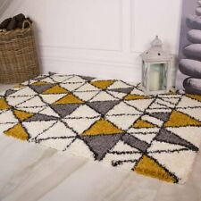 Ochre Yellow Mustard Gray Shaggy Rugs Soft Non Shed Geometric Dining Room Rug