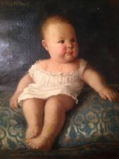 Tableau ancien XIXe LAZARE MEYER (1847-1934) ) Portrait Enfant Huile sur toile