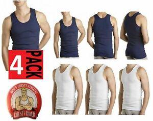 4 X Bonds Chesty Singlets White Navy Undershirt Chestys Mens Sizes Singlet Warm
