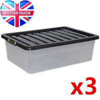 3 x 32L 32 Litre Underbed Large Plastic Storage Clear Box Stackable Container