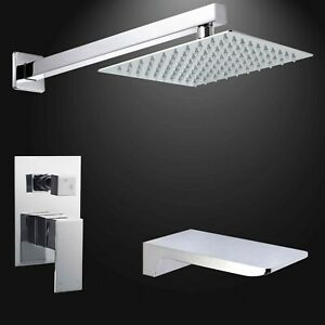 Chrome Square Wall Shower Set Concealed 2 Way Mixer Valve Waterfall Bath Filler