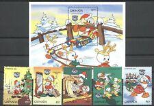 Walt Disney, Donald, Weihnachten - Grenada - 1337-1341, Bl.135 ** MNH  1984