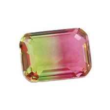 1pc 8X10MM Synthesis Watermelon Tourmaline Emerald Cut Loose Gemstone