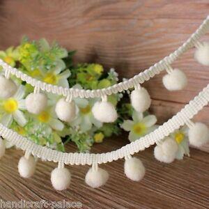 25mm White Pom Pom Ball Fringe Lace Ribbon Trim Sew Scrapbook Costume Trims 1 YD