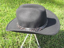 J. HATS COWBOY HAT - 100% WOOL- BLACK - BLK/BR LEATHER WEAVE BAND - SIZE S  NWOT