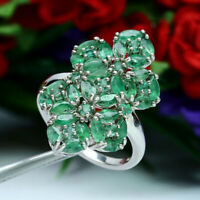 NATURAL GREEN EMERALD RING 925 STERLING SILVER SZ 6