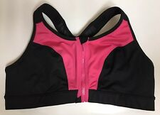 New Livi Active no wire unlined zip up front Sport bra size 42 B black/pink Fast