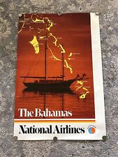 Vintage 1980s Pan Am National Airlines Bahamas Travel Poster