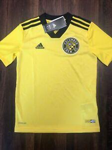 New Adidas Youth Columbus Crew Soccer Replica Jersey Size Kid Medium Yellow