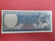 SURINAME BANK NOTE 1963 - 5 GULDEN -No CM099989 - UNCIRCULATED